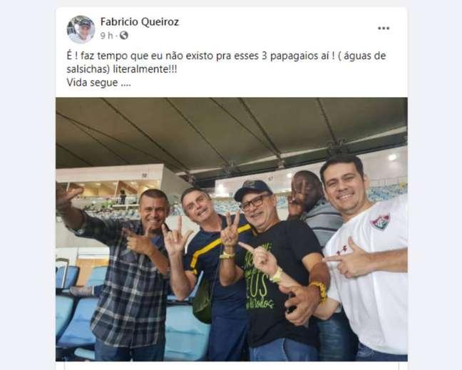 Publicação compartilhada por Fabrício Queiroz mostra o ex-assessor ao lado do presidente Jair Bolsonaro, do deputado federal Hélio Lopes (PSL-RJ), do assessorespecial da presidência Max Guilherme e do assessor parlamentar Fernando Nascimento Pessoa.
