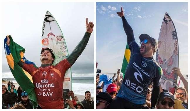 Gabriel Medina (à esquerda) e Ítalo Ferreira venceram suas baterias e estão nas oitavas (Montagem Lance! Fotos: Olivier MORIN / AFP)