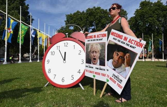 Protesto realizado antes de cúpula sobre clima em Londres