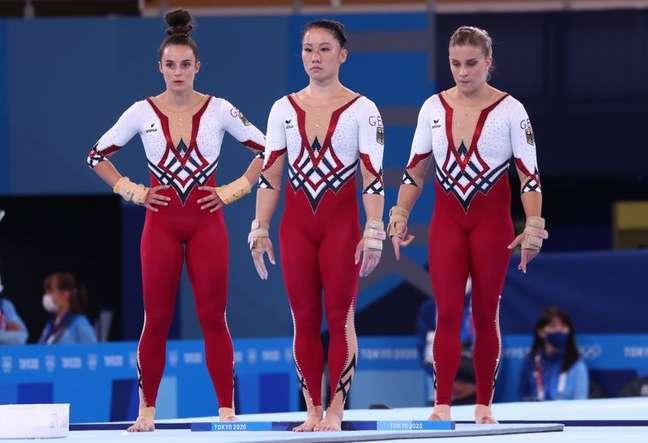 Ginastas da Alemanha durante os Jogos de Tóquio 25/07/2021 REUTERS/Mike Blake