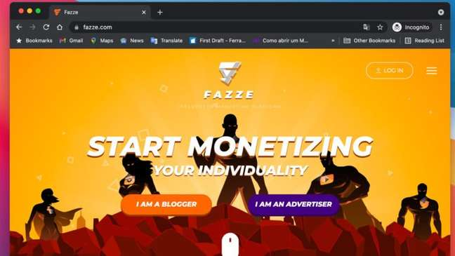 Homepage da Fazze