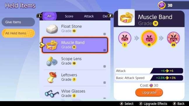 Sistema de itens em Pokémon Unite