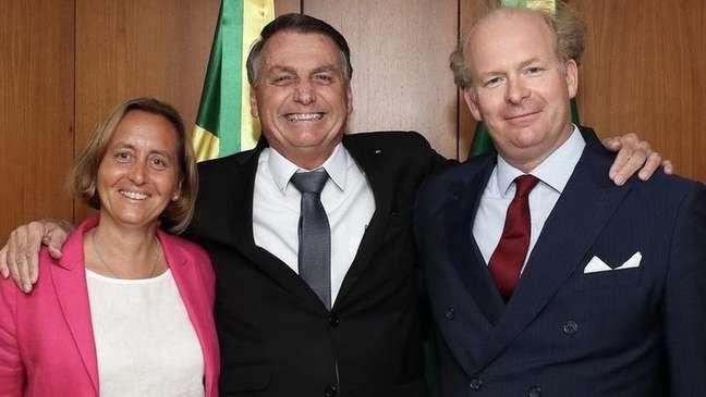 Beatrix von Storch e o marido em encontro com Bolsonaro no Palácio do Planalto