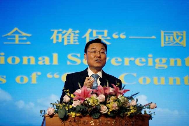Xie Feng durante pronunciamento em Hong Kong 25/05/2020 REUTERS/James Pomfret