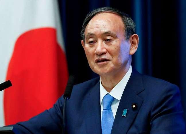 Primeiro-ministro do Japão, Yoshihide Suga, durante entrevusta coletiva em Tóquio 17/06/2021 REUTERS/Issei Kato