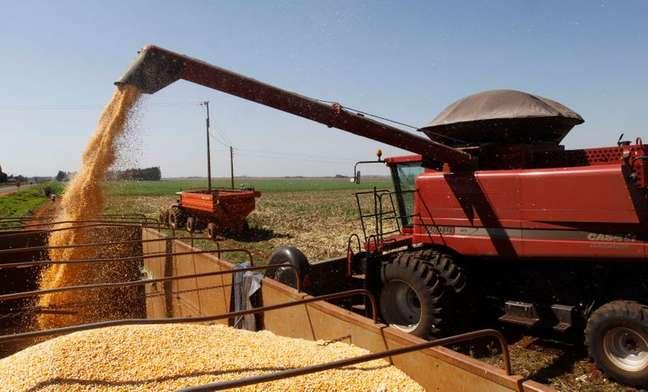 Carregamento de milho em caminhão no Paraguay.  07/08/2012  REUTERS/Jorge Adorno