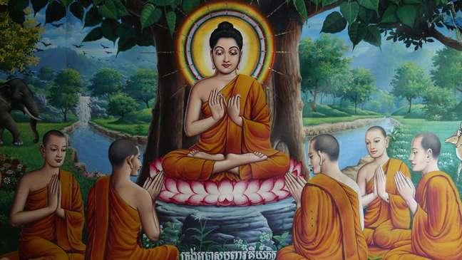 Buda é representado com uma auréola em imagens no mundo todo, como neste afresco de um templo cambojano