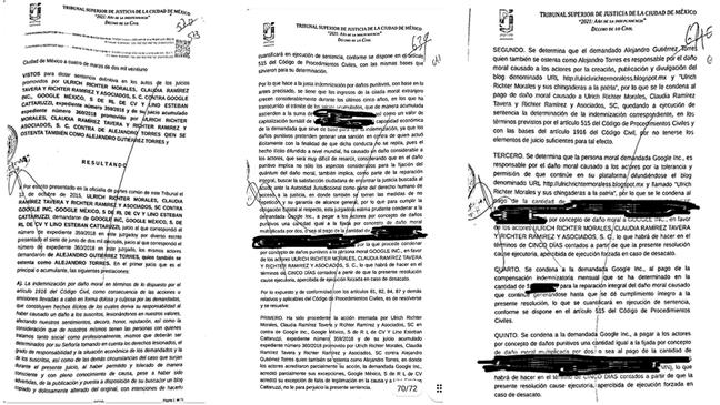 Sentença proferida pela Justiça mexicana; Google contesta, alegando cerceamento à liberdade de expressão