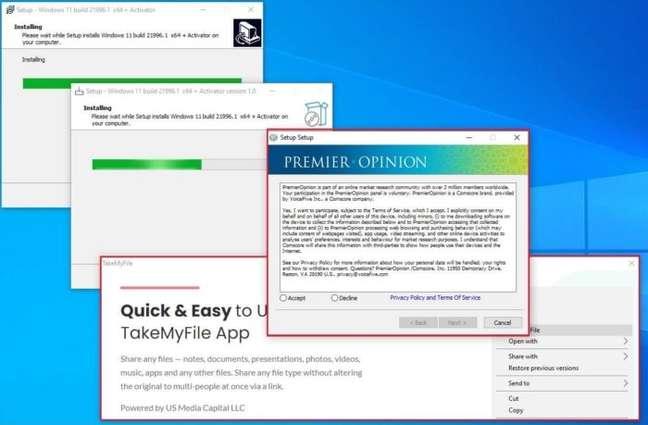 Instalador falso do Windows 11
