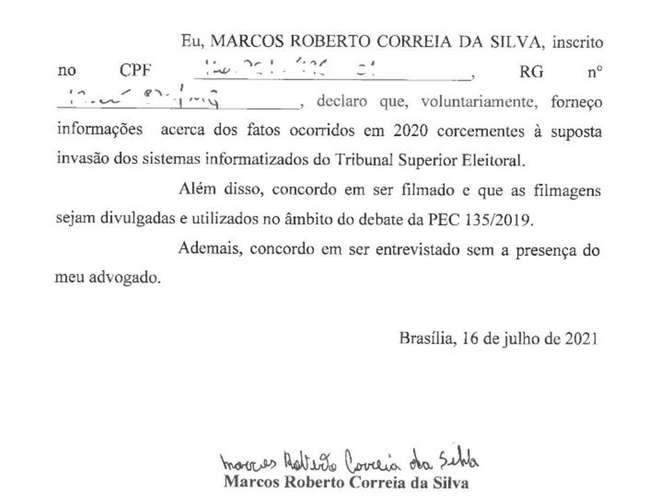 Declaração que equipe de Filipe Barros pediu para preso assinar não faz menção ao deputado