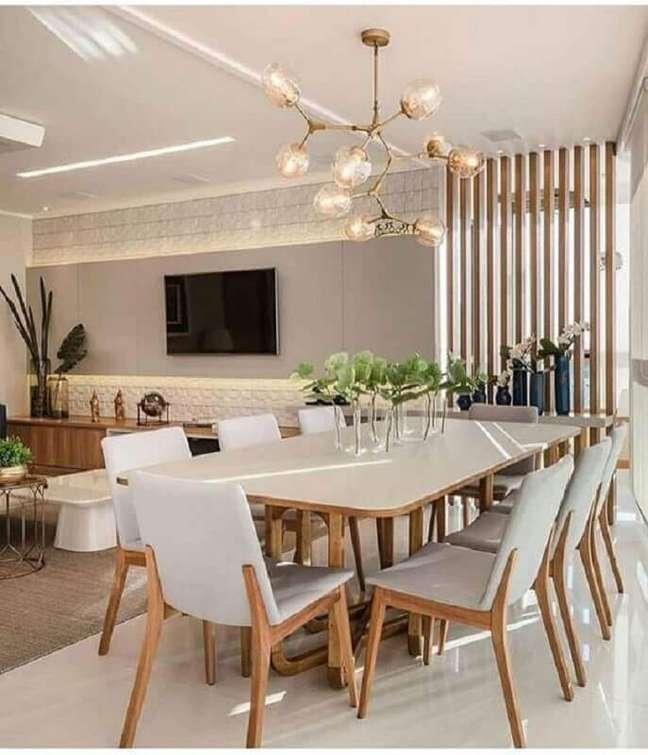 25. Decoração moderna com luminárias para sala de estar e jantar conjugadas – Foto: Pinterest