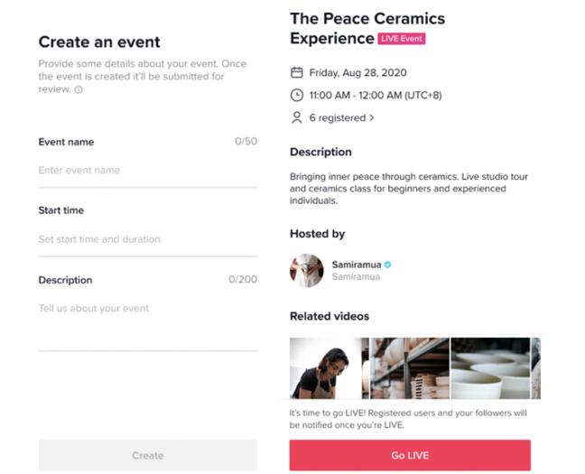 Os LIVE Events do TikTok permitem que criadores agendem eventos ao vivo e traz ferramentas de divulgação