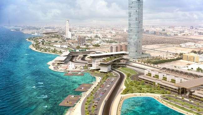 Detalhe do projeto do circuito que vai ser palco do primeiro GP da Arábia Saudita de F1