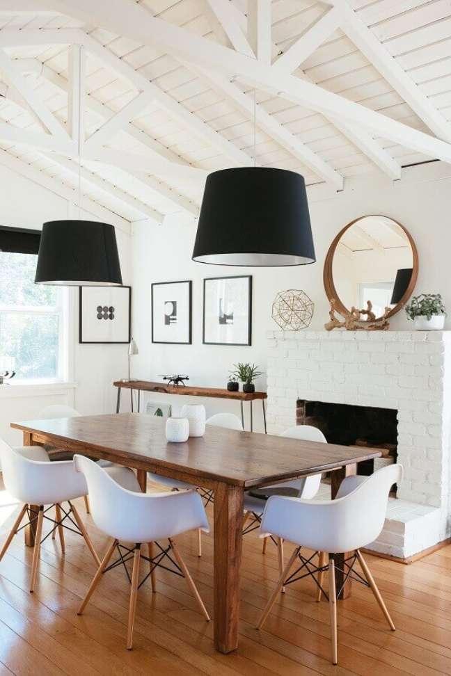 8. Saiba escolher o modelo ideal de luminária para sala de jantar – Foto: Home Fashion Trend
