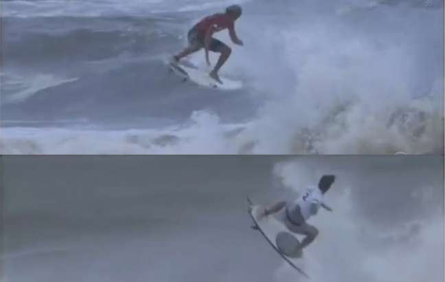 Medina e Igarashi nos auges de seus aéreos (Foto: Reprodução/Globo)