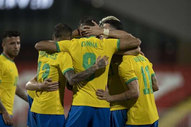 Jogadores da Seleção Brasileira comemoram gol Lucas Figueiredo CBF