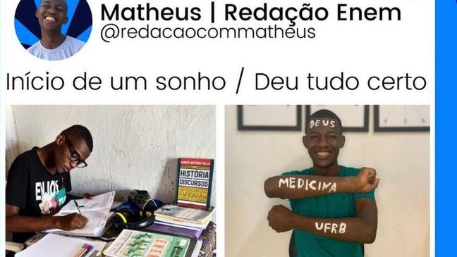 Matheus agora dá dicas de preparação para vestibulares e Enem para jovens que, como ele, têm poucas condições de estudar