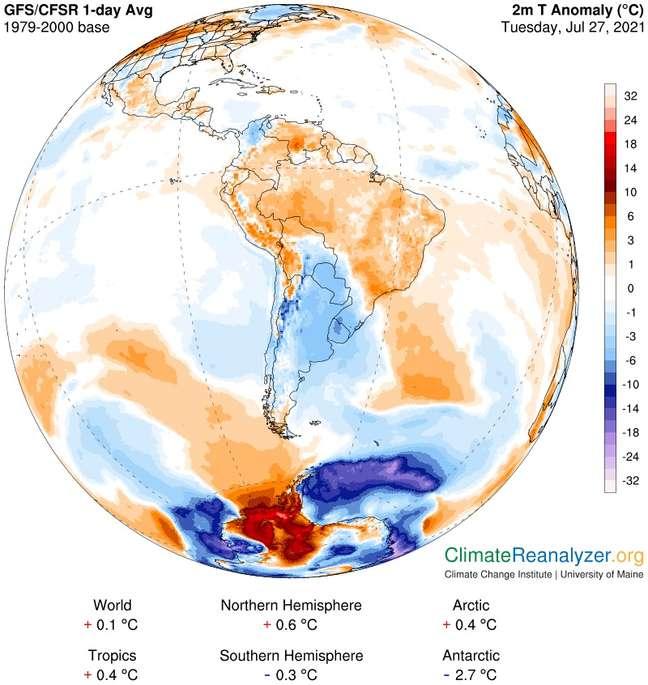 Imagem computadorizada da última terça (27/7) mostra massa de ar quente deixando a América do Sul rumo à Antártida enquanto massa de ar frio deixa a Antártida rumo à América do Sul
