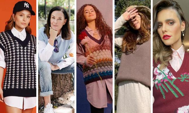 Famosas apostam no look retrô com colete de tricô (Fotos: Reprodução/Instagram)