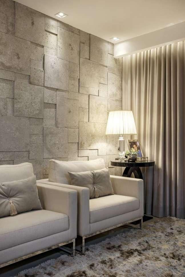 35. Poltronas cinza para sala de espera e papel de parede 3d Foto Castelatto Pisos e Revestimentos