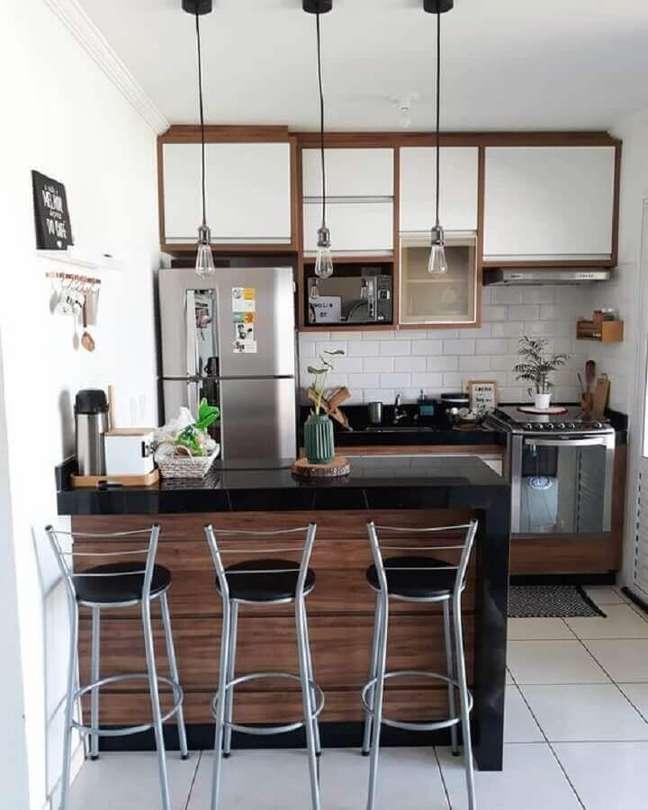 6. Decoração simples para cozinha modulada estilo americana – Foto: Pinterest