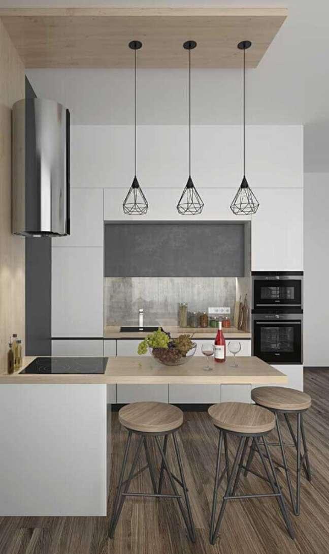 50. Decoração moderna para cozinha planejada estilo americana pequena – Foto: Pinterest