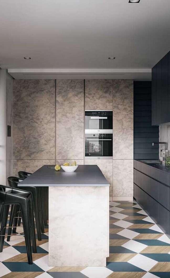 59. Piso geométrico colorido para decoração de cozinha estilo americana com ilha – Foto: Pinterest