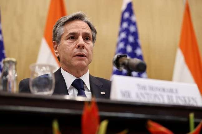 Secretário de Estado dos EUA, Antony Blinken, durante entrevista coletiva em Nova Délhi 28/07/2021 REUTERS/Jonathan Ernst