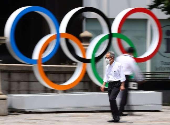 Anéis olímpicos em Tóquio  28/7/2021   REUTERS/Kim Kyung-Hoon