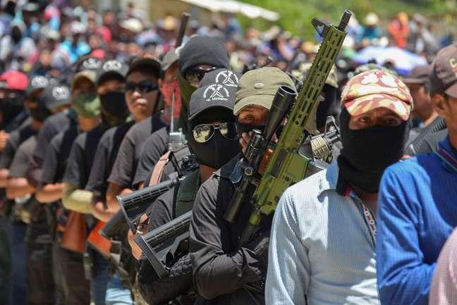 Grupo de autodefesa formado principalmente por indígenas durante assembleia com comunidades indígenas em Pantelhó 18/07/2021 REUTERS/Jacob Garcia