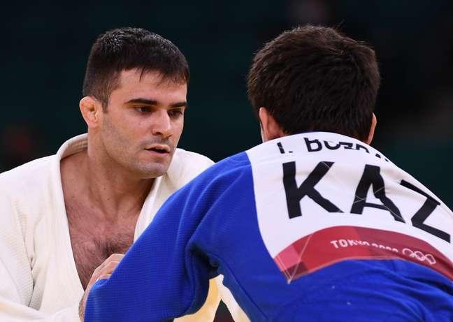 Rafael Macedo durante a curta luta que fez nesta terça-feira na sua estreia em Tóquio