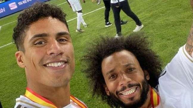 Marcelo e Varane foram companheiros na defesa do Real Madrid (Foto: Arquivo Pessoal)