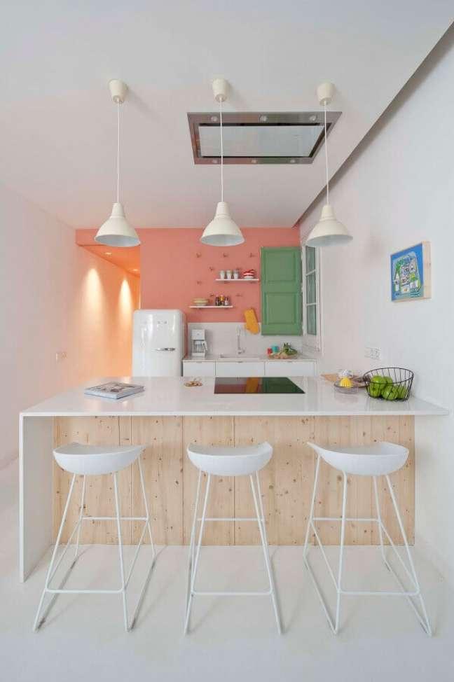 28. Cores pastéis para decoração de cozinha planejada estilo americana – Foto: Pinterest