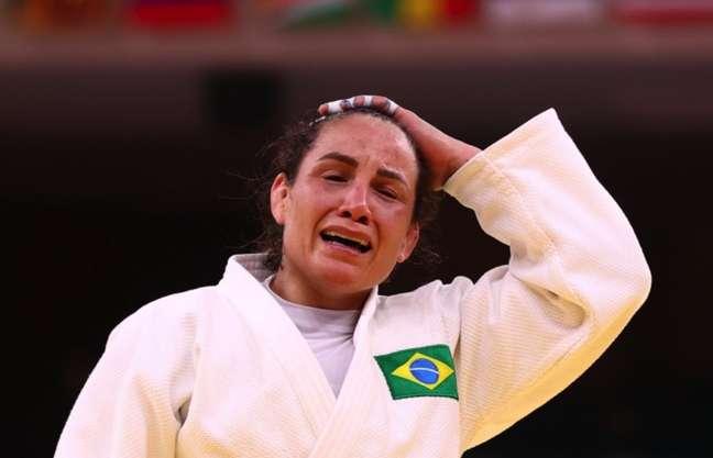 Maria Portela chorou muito depois da derrota nesta quarta-feira
