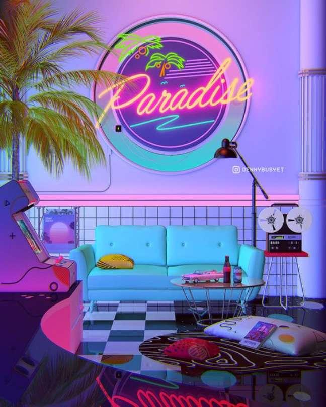61. Parede de sala decorada com tema retro e luz neon – Foto Denny Busyet
