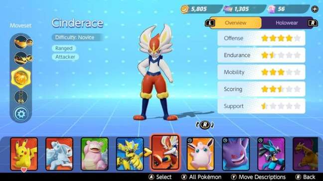 Pokémon Unite tem cinco classes diferentes de monstrinhos