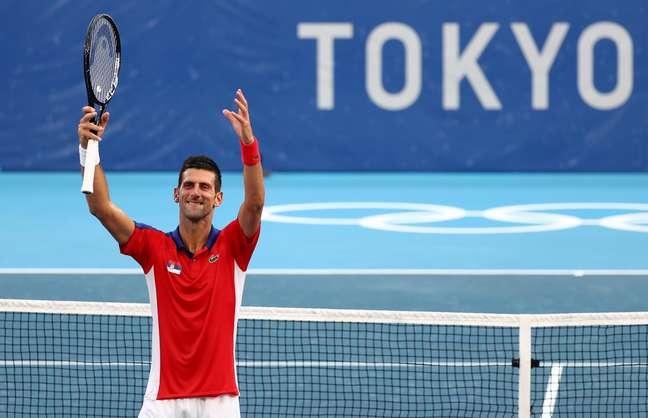 Djokovic comemora vitória sobre Alejandro Davidovich nesta quarta-feira Mike Segar/Reuters