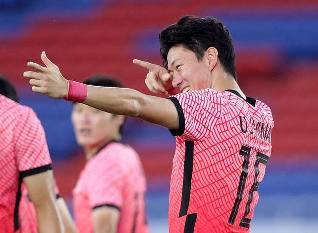 Hwang Ui-Jo marcou três vezes na goleada da Coreia do Sul diante de Honduras nesta quarta-feira pelos Jogos Olímpicos de Tóquio Hannah Mckay/Reuters