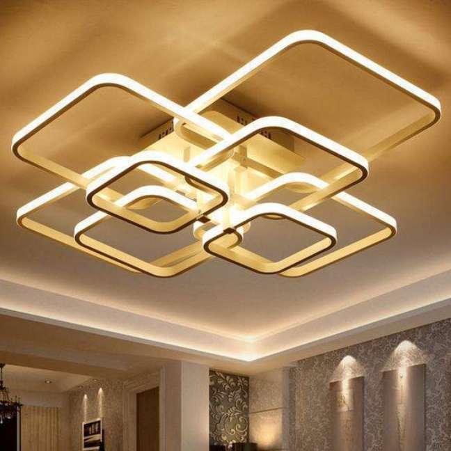 35. Lustre quadrado para iluminar a sala de estar – Foto AliExpress