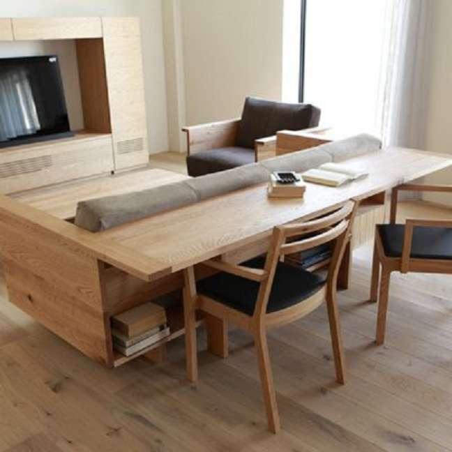 64. Sala pequena com mesa para home office atrás do sofá – Foto Habitissimo