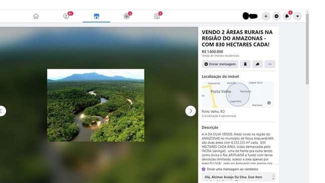 Anúncio oferece áreas de mata dentro da Floresta Nacional do Aripuanã, no Amazonas; florestas nacionais são públicas e se destinam a comunidades tradicionais