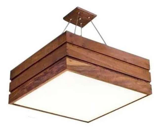 20. Lustre quadrado de madeira para decoração de casa moderna -Foto Mercado Livre