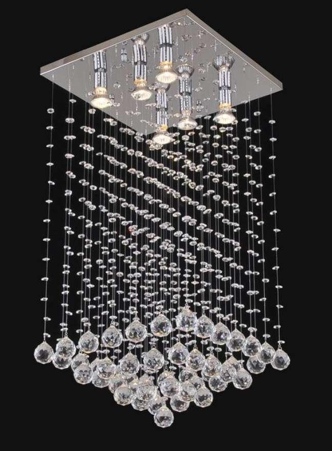 52. Lustre quadrado com cristais na decoração de casa – Foto Lumilandia