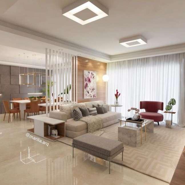 31. Lustre quadrado plafon na sala de estar – Foto Pinterest