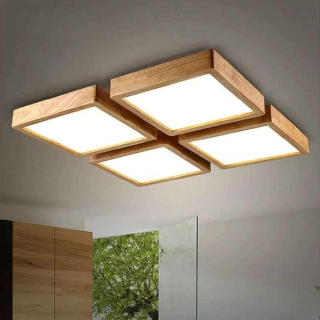19. Lustre quadrado de madeira e luz led – Foto ALiExpress