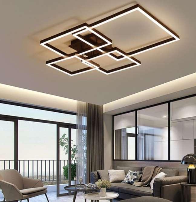 10. Lustre quadrado para sala moderna em tons neutros – Foto Ebay