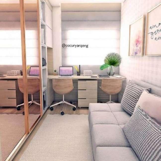 60. Home office na sala planejada – Foto Dicas de Mulher