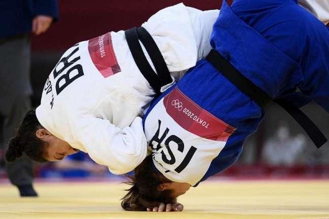 Mayra Aguiar estreou com vitória nos Jogos Olímpicos de Tóquio (AFP)
