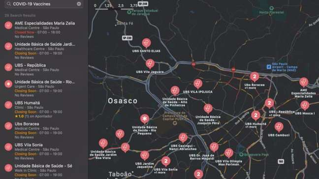 Mapa mostra unidades e postos de vacinação em São Paulo