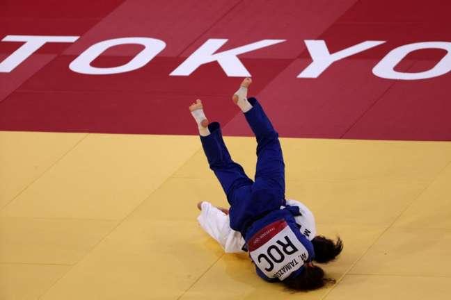 Maria Portela foi derrotada pela russa Madina Taimazova (Foto: Jack GUEZ / AFP)